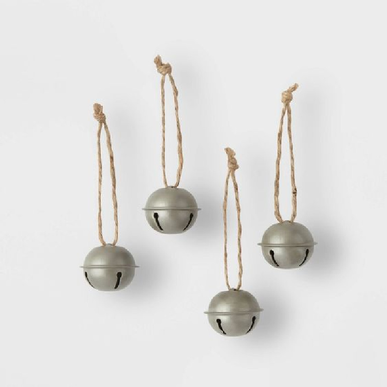 Little galvanized jingle bell ornaments for a Scandi Christmas