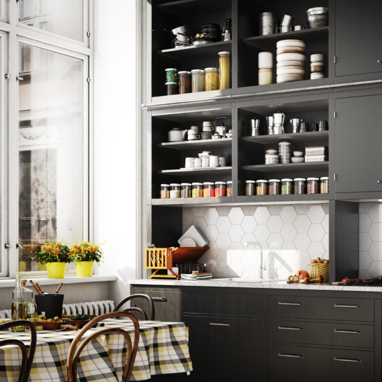 Behr Broadway paint color on kitchen cabinets is a deep dark bronzy soft black-brown for a bit of drama for your walls. #behrbroadway #paintcolors #blackpaints