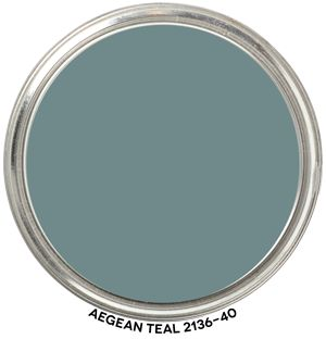 Benjamin Moore Aegean Teal paint color - trending as color of the year for 2021. #paintcolors #tealpaint #benjaminmooreaegeanteal