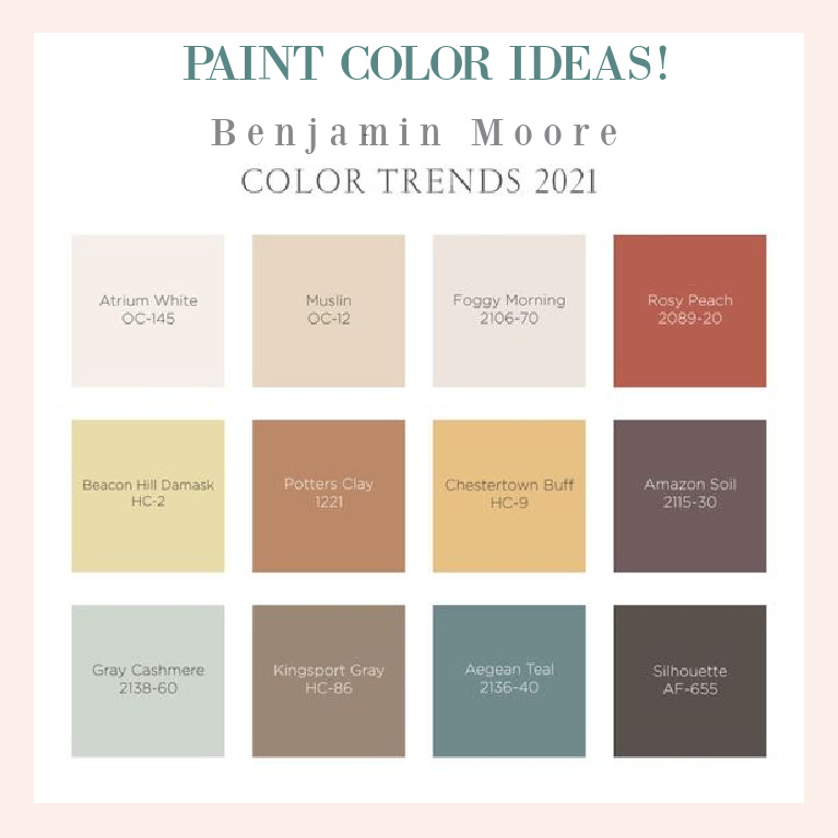 Paint color ideas for 2021 from Benjamin Moore - try these colors in your own home! #paintcolors