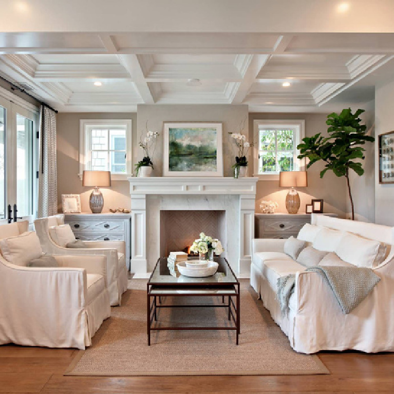 Foggy Morning (Benjamin Moore) soothing neutral paint color in a coastal home with custom millwork - Brandon Architects. #benjaminmoorefoggymorning #foggymorning #paintcolors