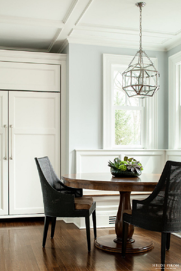 Soothing and tranquil Cashmere Gray (Benjamin Moore) paint color on walls of a designer kitchen - Heidi Piron