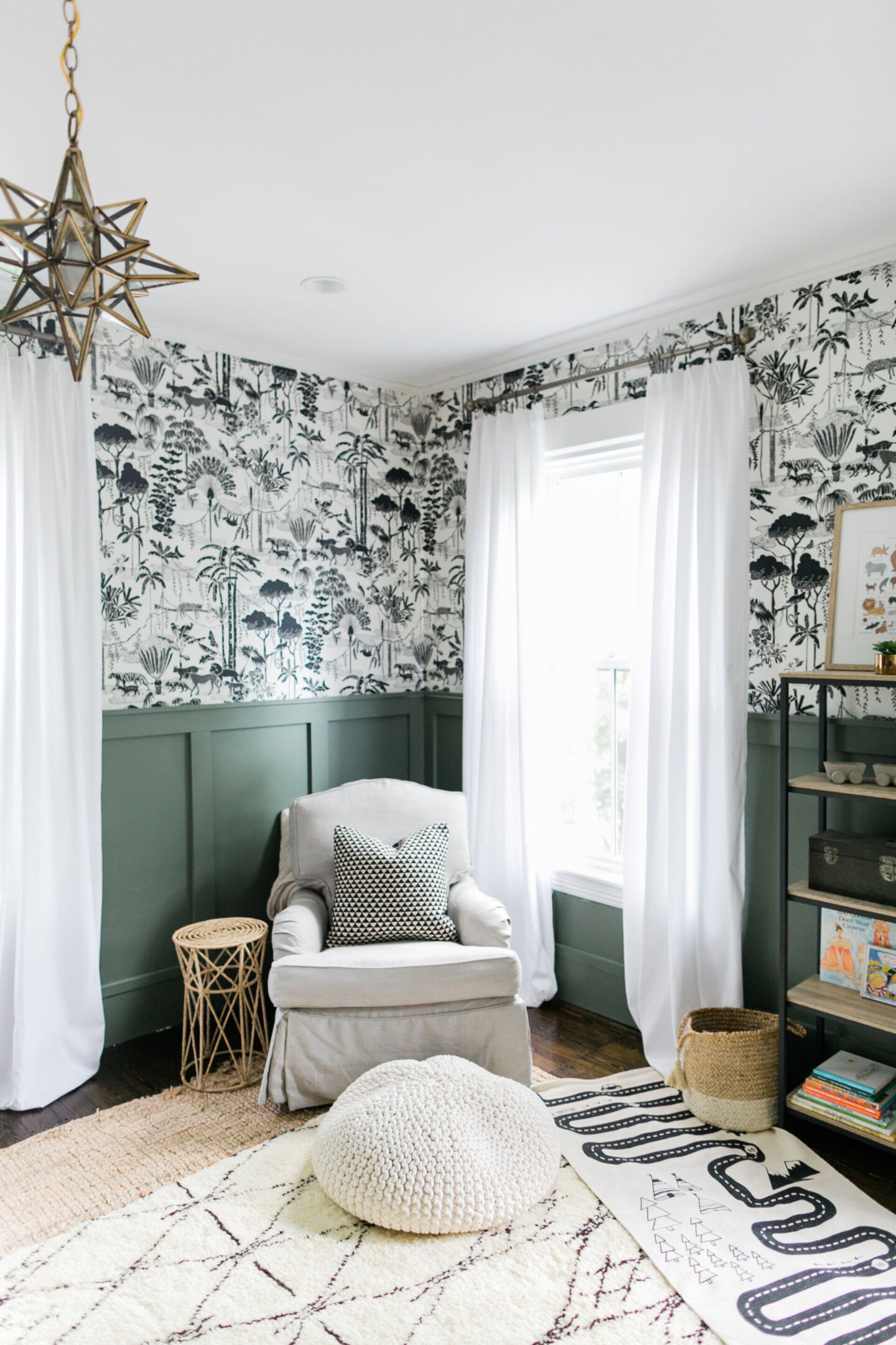 Rosemary - a Sherwin-Williams green paint is subdued by mixing it 50% for the trim in a boy's bedroom by Finding Lovely. #sherwinwilliamsrosemary #rosemary #paintcolors #greenpaintcolors