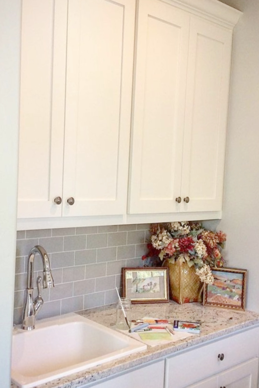 Laundry room painted pale blue (Quiet Moments by Benjamin Moore) - @foundblessings. #quietmoments #benjaminmoorequietmoments