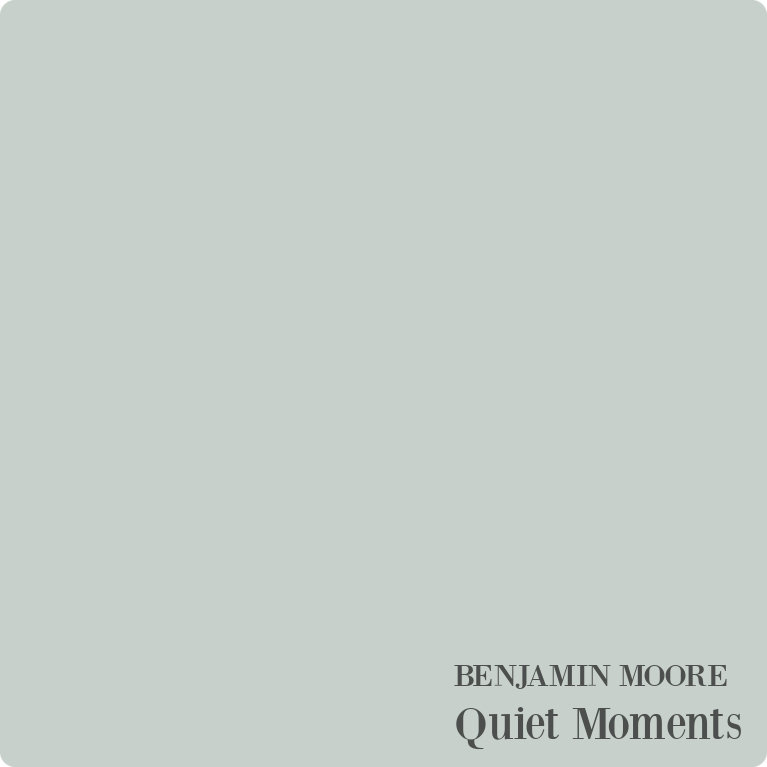 Benjamin Moore Quiet Moments paint color swatch - a serene and timeless coastal hue to try! #quietmoments #paintcolors