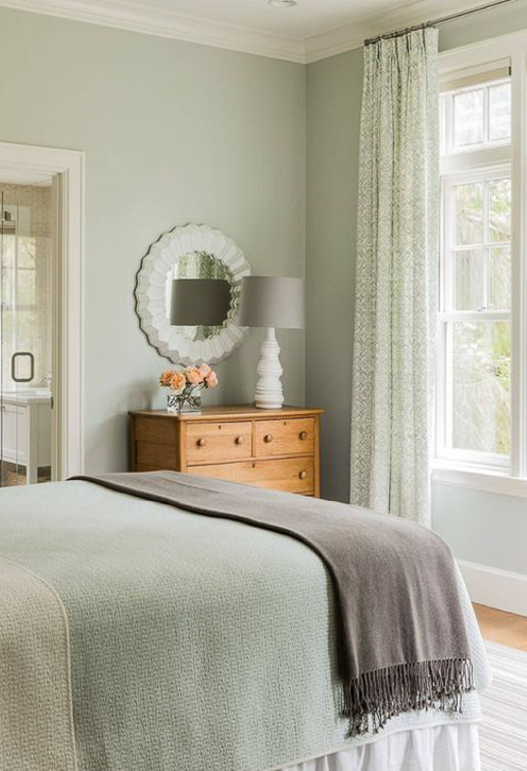 Benjamin Moore Quiet Moments paint color on walls of a lovely traditional cottage style bedroom - Houzz via Postcardsfromtheridge. #quietmoments #paintcolor #pleblue