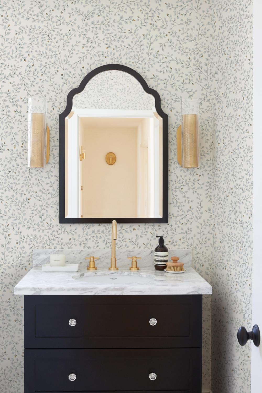 Gorgeous bathroom with Rylee & Cru Dainty Leaves wallpaper - Lulu & Georgia.