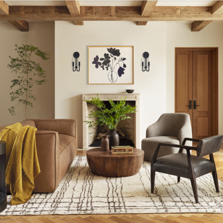 Modern rustic Cali zen style in a living room by Lulu & Georgia infused with natural materials, gentle color, and timeless style.