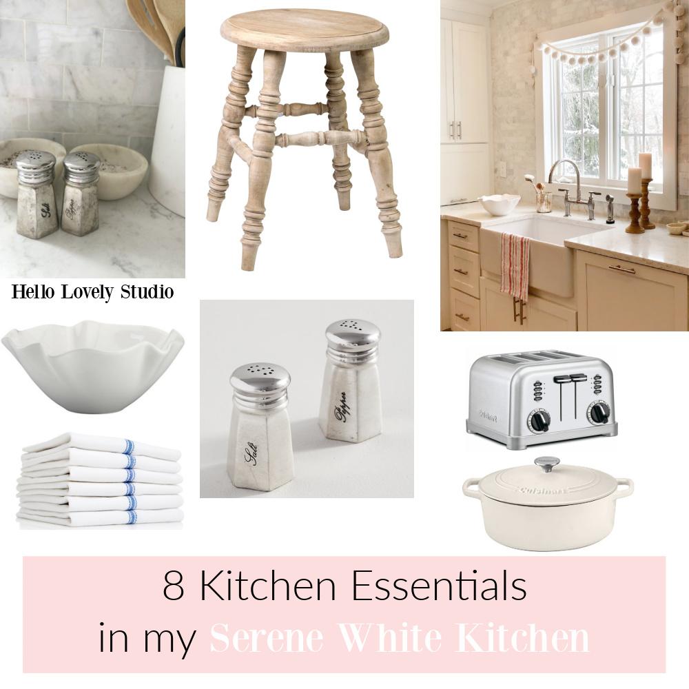 8 kitchen essentials in my serene white kitchen - Hello Lovely Studio. #kitchendecor #europeancountry #shopthelook
