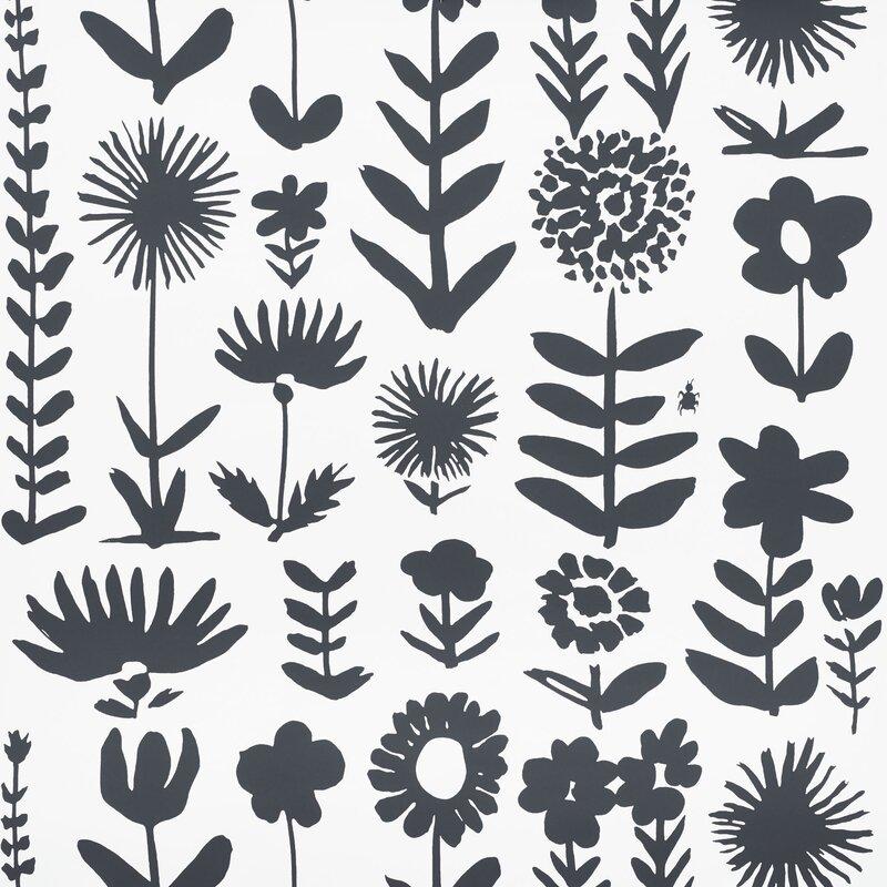 Wild Things (Schumacher) black and white graphic wallpaper. #wallpaper #schumacher #wildthings #blackandwhite