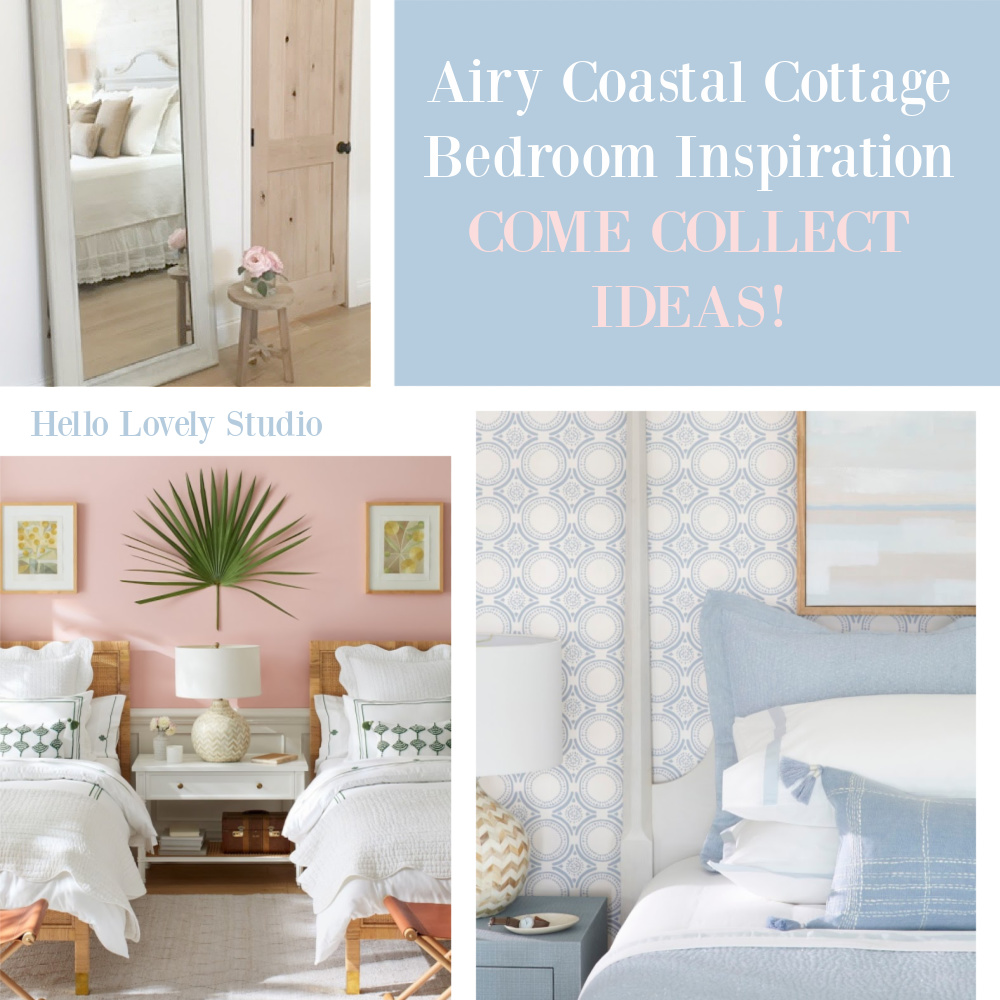 Airy Coastal Cottage Bedroom Inspiration on Hello Lovely Studio - come collect ideas! #coastalstyle #bedrooms #shopthelook