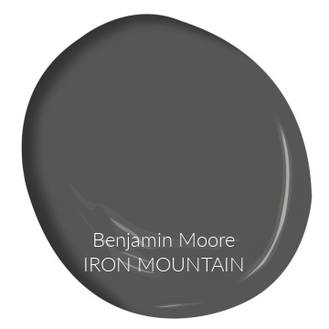 Iron Mountain (Benjamin Moore) paint color swatch is a dark charcoal, soft black, deep bronze color to consider. #ironmountain #benjaminmooreironmountain #paintcolors