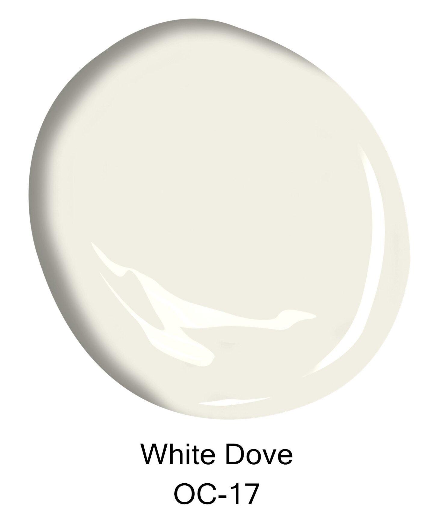 White Dove (Bejamin Moore) paint color swatch. #paintcolors #benjaminmoorewhitedove #whitedove #whitepaintcolors