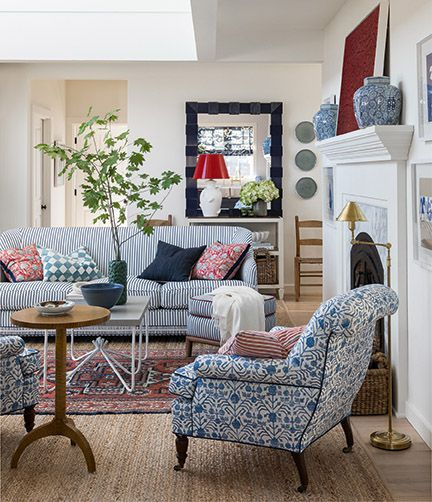 Gorgeous classic design in s coastal living room with blue and white - featured in AT HOME by Brian Paquette (Gibbs Smith, 2021). #livingroom #blueandwhite #coastalstyle