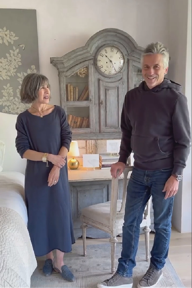 Steve Giannetti and Brooke at home at Patina Farm where a lovely blue grey painted Swedish antique secretary desk in their master bedroom makes a stunning statement. #patinafarm #giannettihome