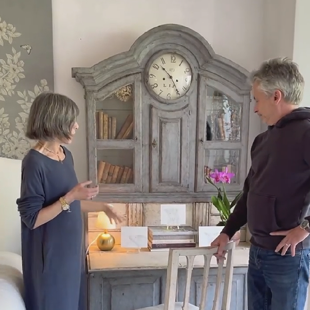 Brooke and Steve Giannetti at home at Patina Farm where a lovely blue grey painted Swedish antique secretary desk in their master bedroom makes a stunning statement. #patinafarm #giannettihome