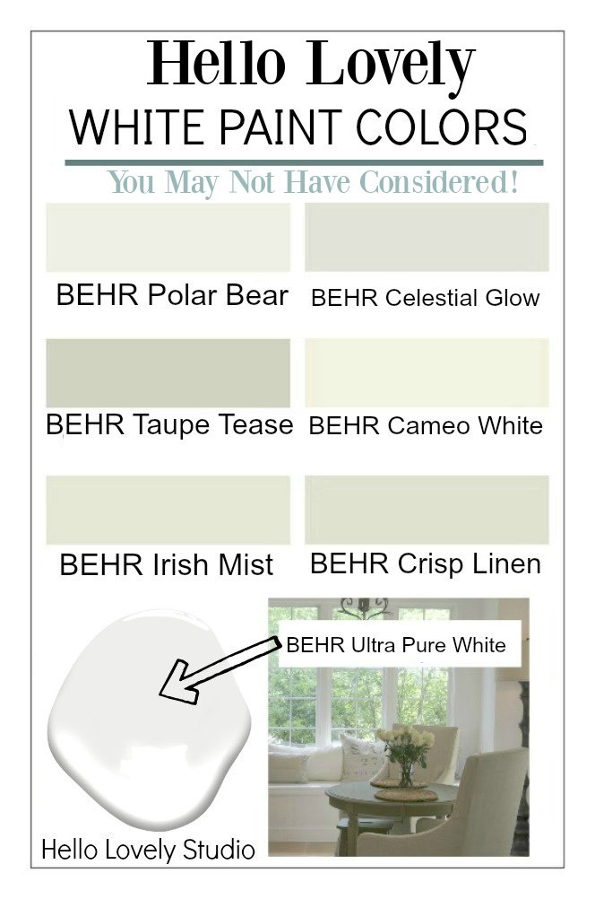 Hello Lovely white paint colors you may not have considered! Come get ideas for the best white paint! #paintcolors #whitepaint
