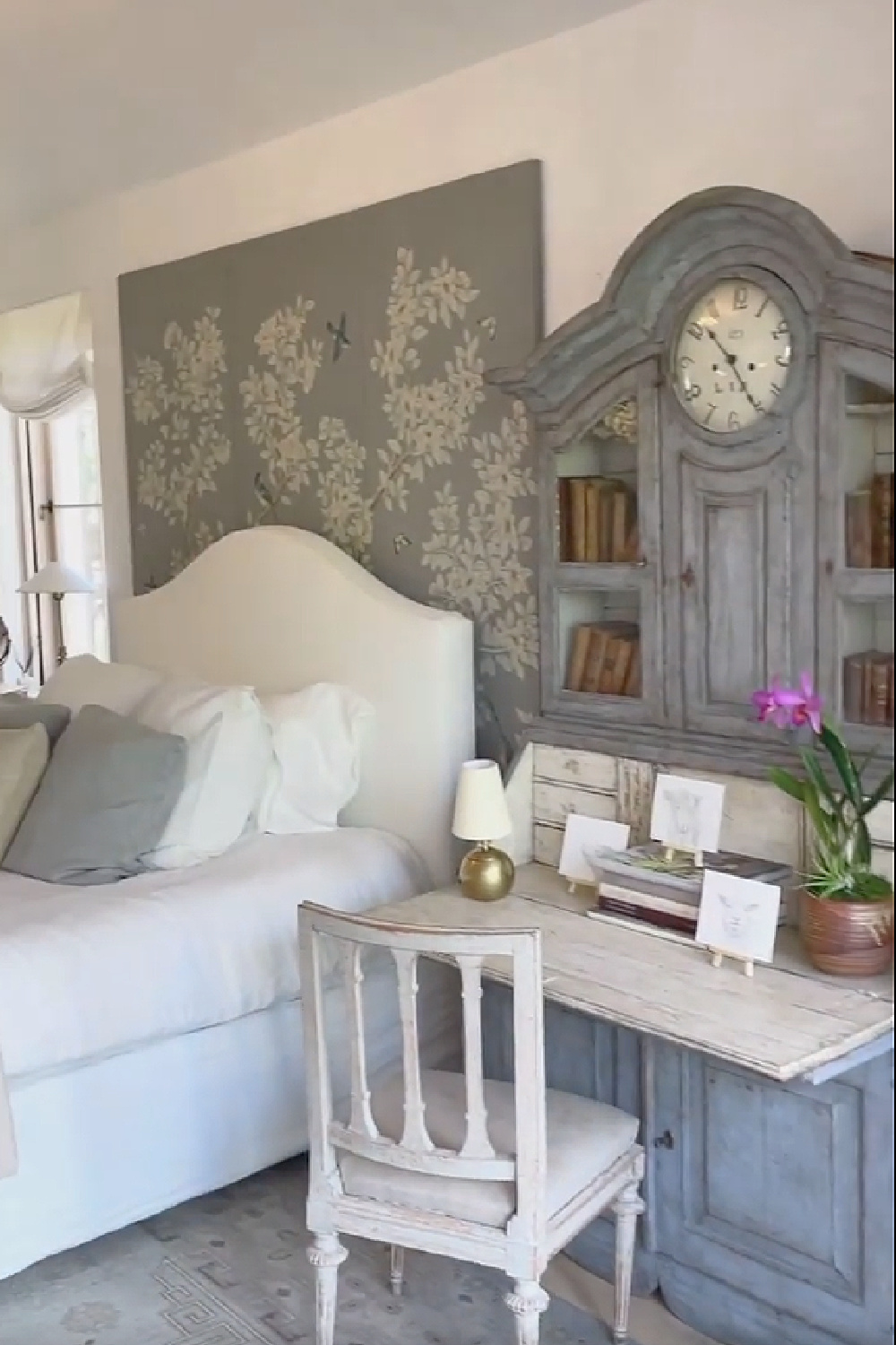 Chalky blue grey is stunning in a Gracie Studio wallcovering and antique Swedish desk in a bedroom by Giannetti Home at Patina Farm. #bedroomdecor #frenchfarmhouse #swedishantiques #nordicfrench #patinafarm