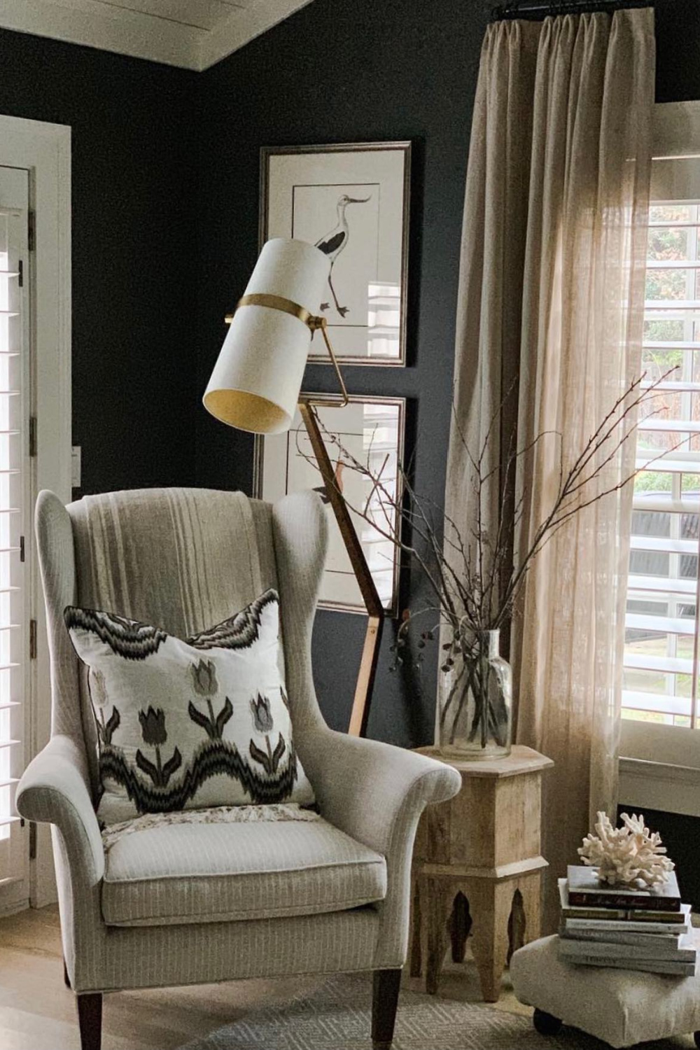 Iron Mountain (Benjamin Moore) soft black/brown paint on bedroom wall - Sherry Hart. Come explore Stunning Neutral and Natural Interiors. t#benjaminmoore #iron,ountain #paintcolors
