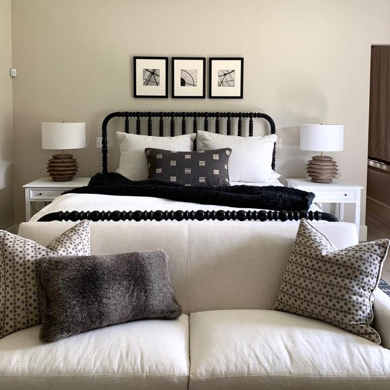 Beautiful natural classic bedroom design by Sherry Hart. #interiordesign #bedrooms #blackandwhite