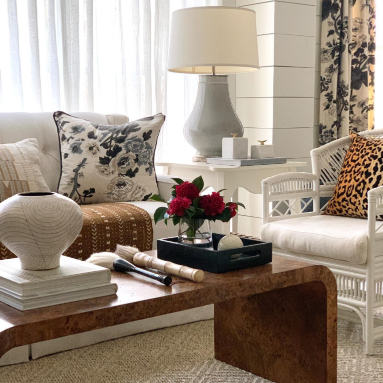 Classic living room with neutrals, black, and white in Atlanta - Sherry Hart. #livingroom #interiordesign #neutraldecor