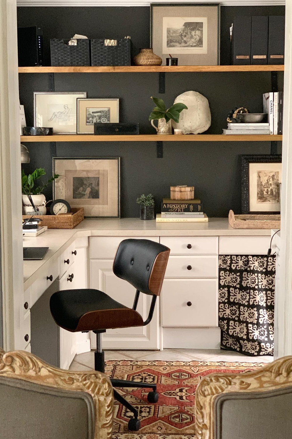 Iron Mountain (Benjamin Moore) paint color on walls in a lovely laundry room office with open shelving and white cabinets - Sherry Hart. #ironmountain #benjaminmooreironmountain #office
