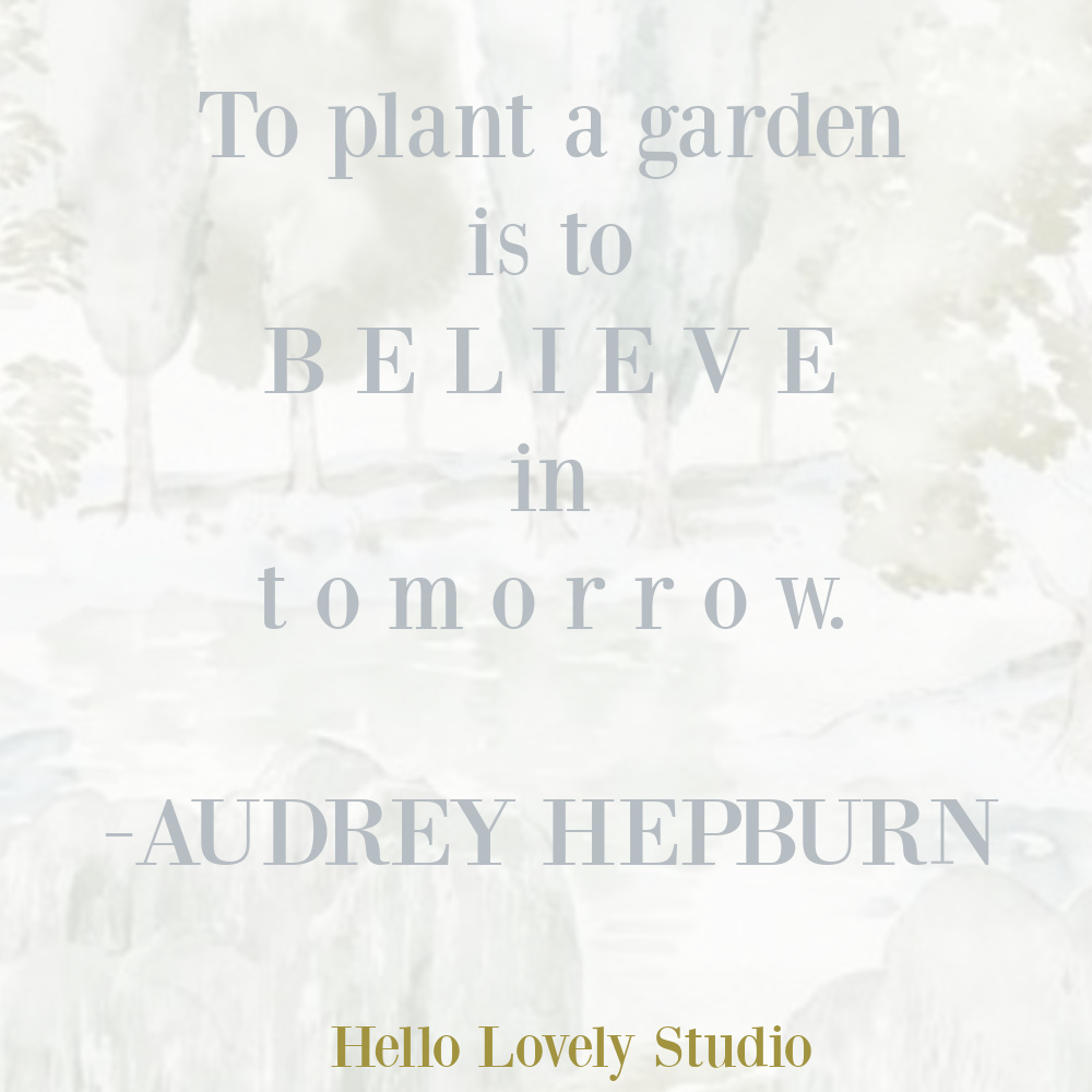 Gardening and hope quote by Audrey Hepburn on Hello Lovely Studio.