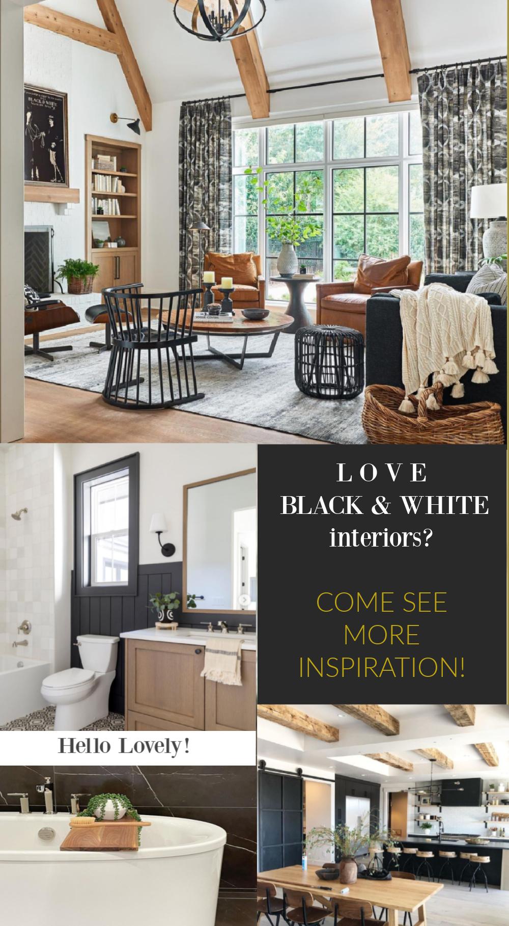 Black and white interiors inspiration on hello lovely studio. #blackandwhite #interiordesign #decoratingideas