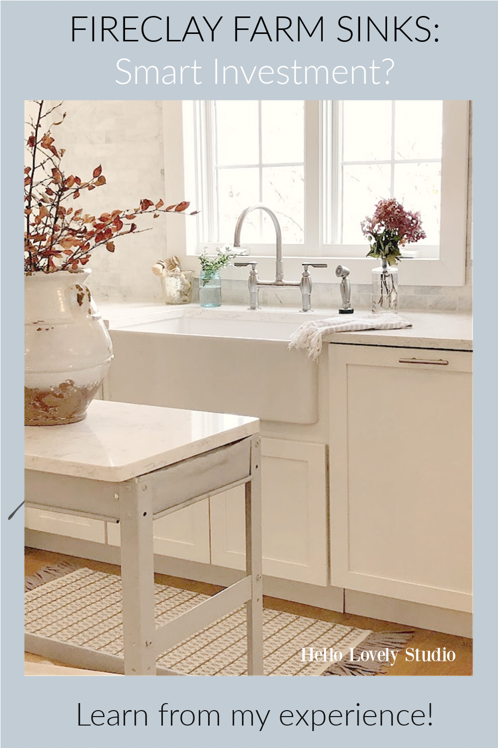 Fireclay farm sinks: smart investment? Come learn from my experience on Hello Lovely Studio. #farmsinks #fireclayfarmsink #kitchendesign #kitchensinks