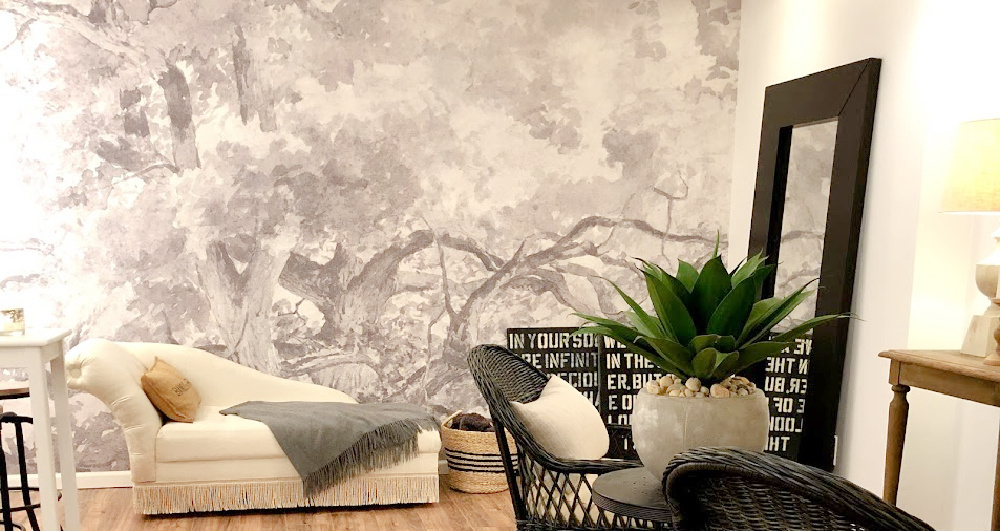 Beautiful wallpaper mural with grey and white tree landscape - Hello Lovely Studio.