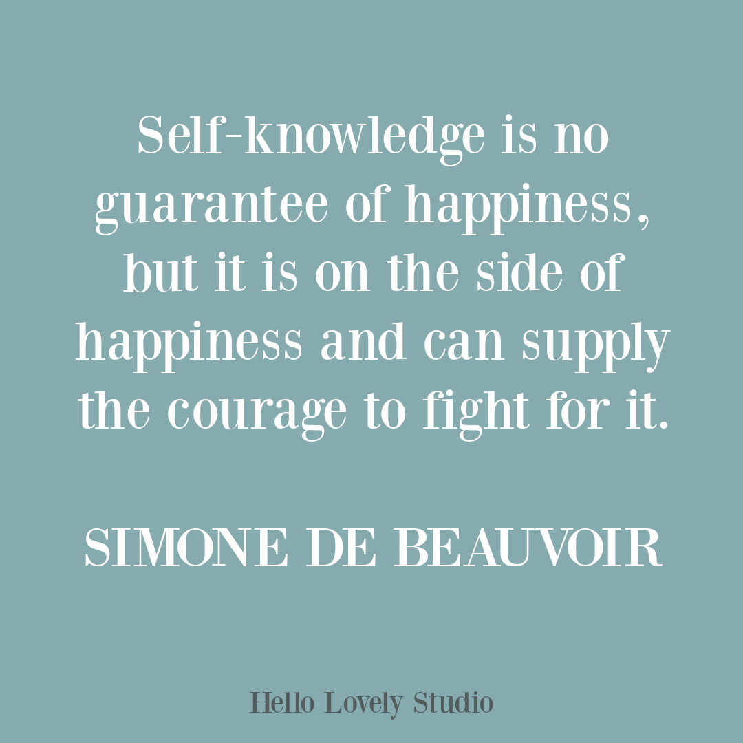 Simone de Beauvoir inspirational quote on Hello Lovely Studio.