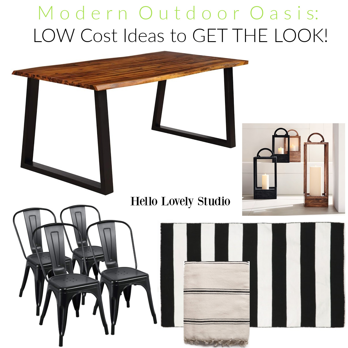 Modern Outdoor Oasis: low cost ideas to get the look on Hello Lovely Studio. #patiofurniture #outdoorideas #outdoorliving #outdoorfurniture #Outdoordecorating