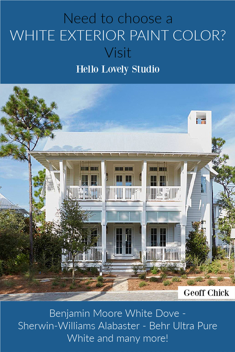 Need to choose a white exterior paint color? Come get ideas to try on Hello Lovely! #whitepaintcolors #houseexteriors #whitehouses