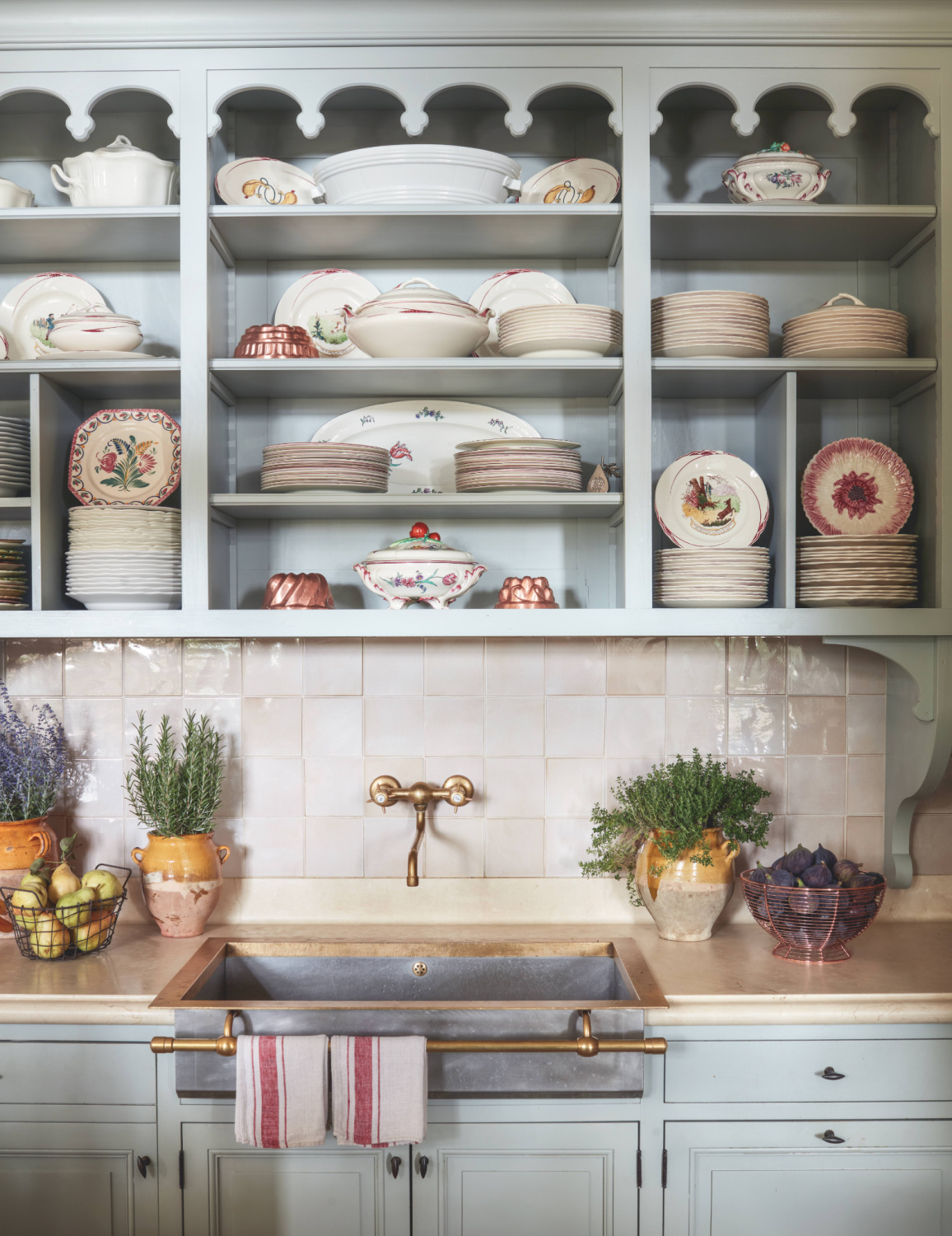 Light blue French kitchen in Provence's Le Mas des Poiriers - photo by Luke White in PROVENCE STYLE by Shauna Varvel. #frenchkitchen #provence