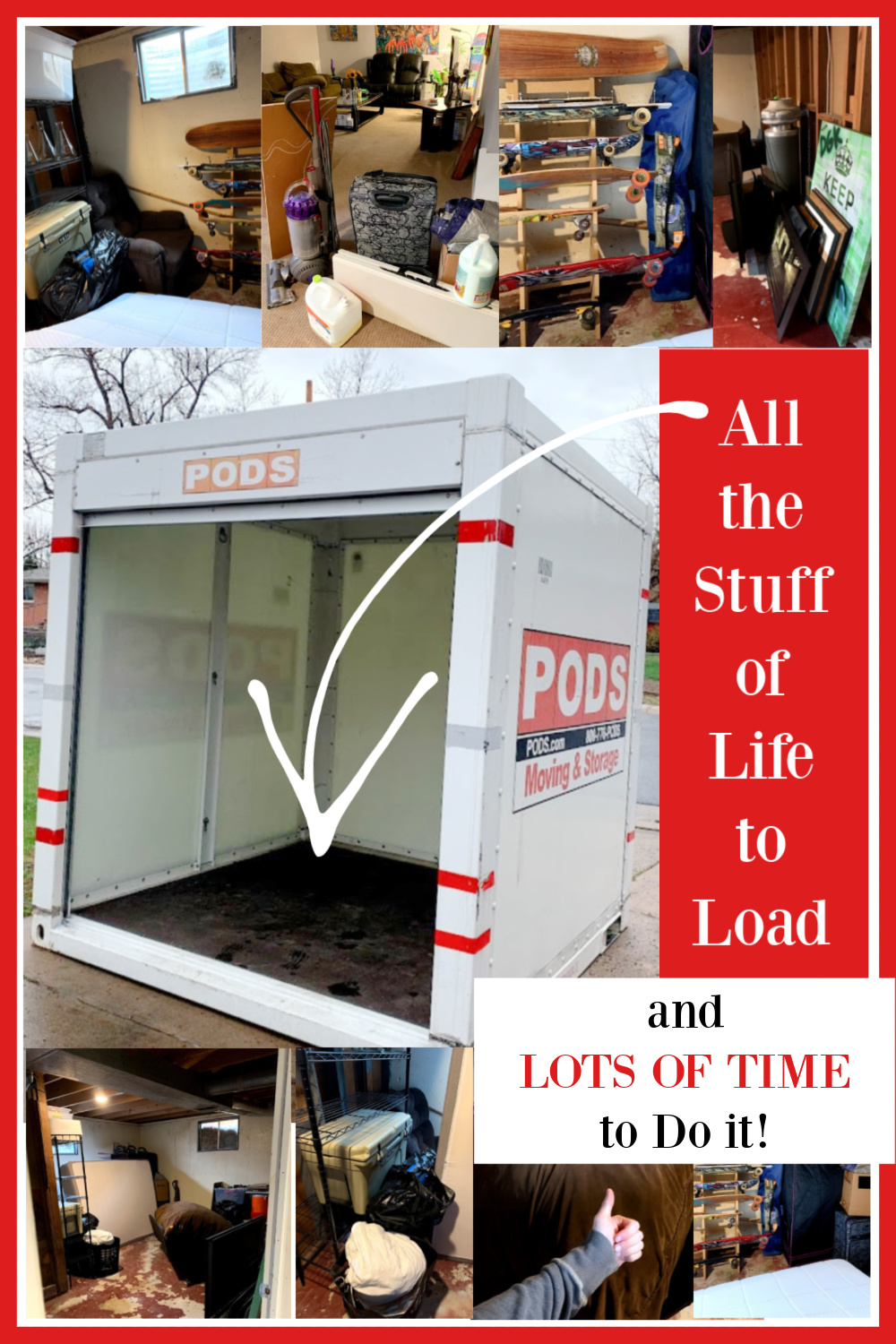 PODS container banner with images of belongings to load - all the stuff of life! Hello Lovely Studio. #podsmove #movingwithpods #relocation