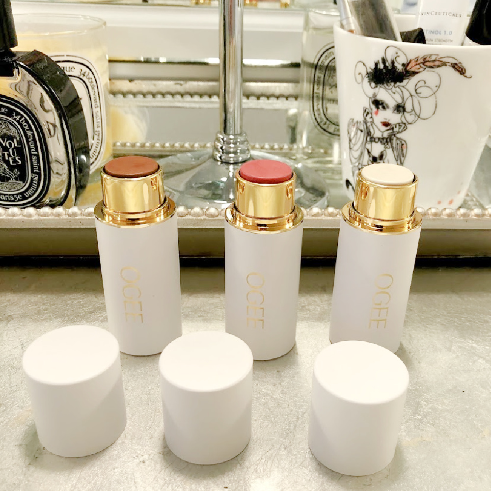 OGEE Crystal Contour Collection on my vanity - Hello Lovely. #fashionover50 #makeupsticks