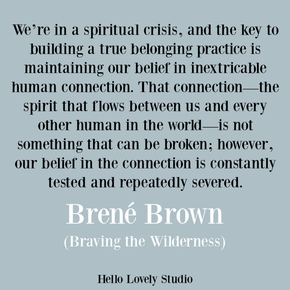 Brene Brown spirituality quote on Hello Lovely from Braving the Wilderness about unity. #unityquote #brenebrownquotes #spirituality