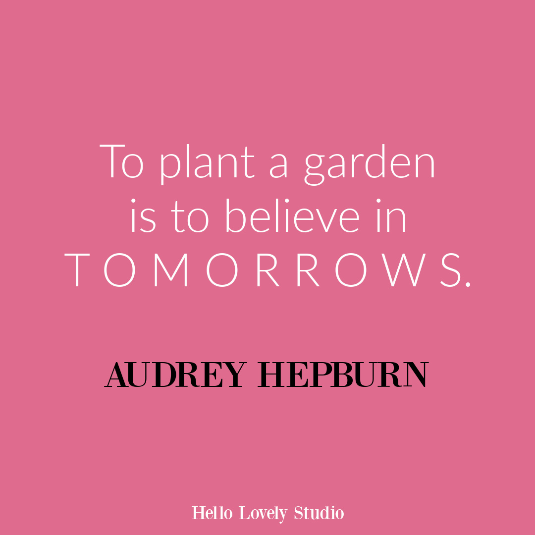 Inspirational gardening quote about flowers and life on Hello Lovely Studio. #gardenquote #inspirationalquotes #audreyhepburn