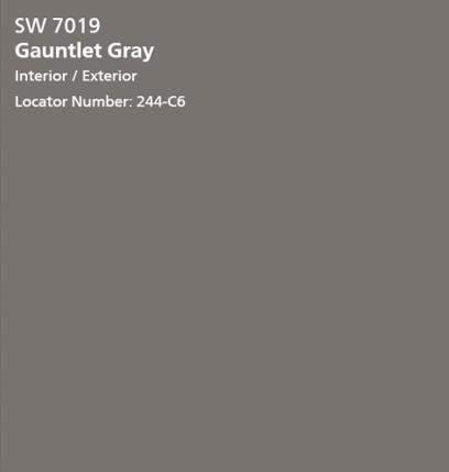 Gauntet Gray SW paint color swatch. #gauntletgray #paintcolors #graypaint