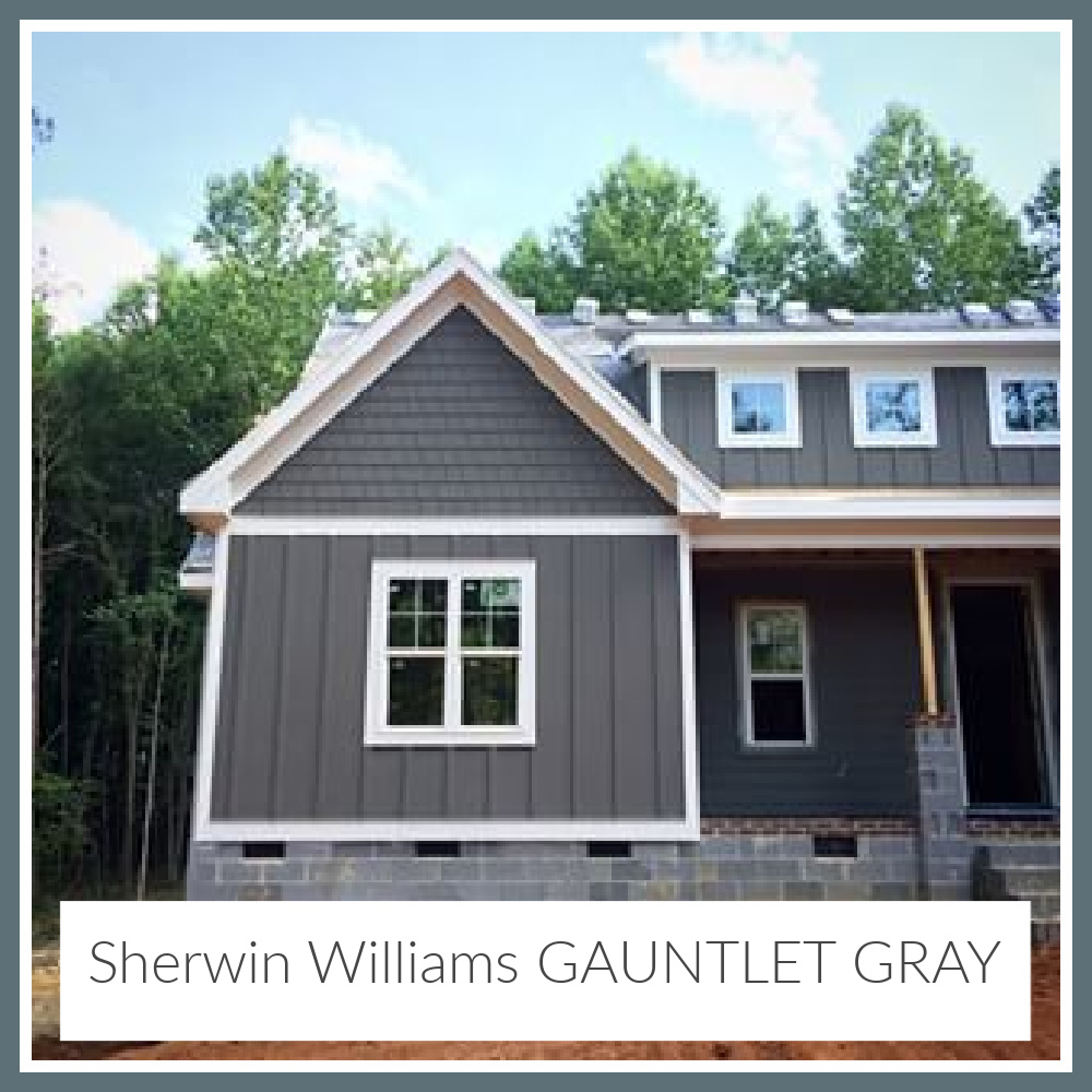 Gauntlet Gray Sherwin Williams paint color on a house exterior - (The Gray Cottage). #gauntletgray #graypaintcolors #paintcolors #sherwinwilliamsgauntletgray