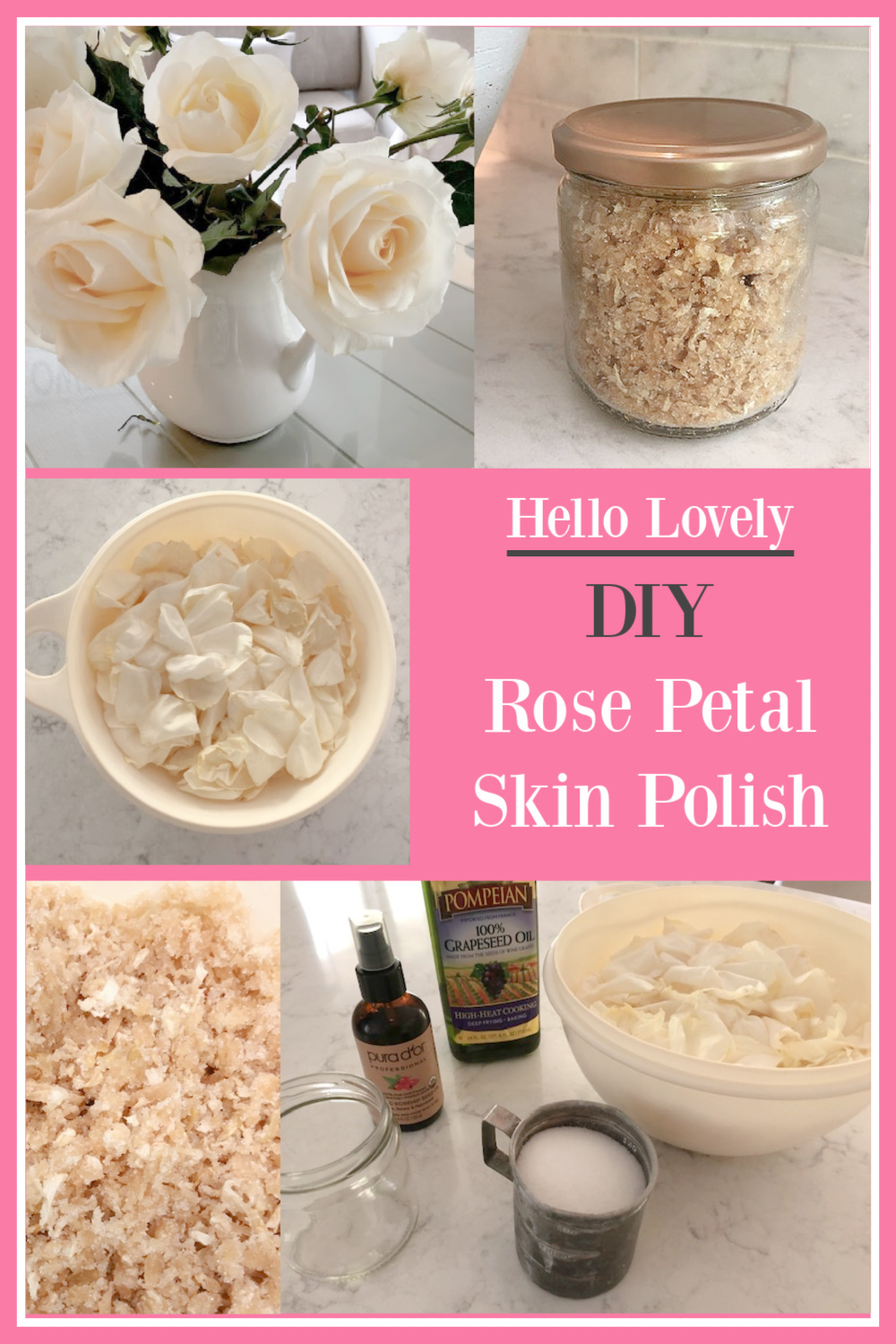 Hello Lovely DIY Rose Petal Skin Polish Recipe - come get the details for making a gentle sugar scrub with fresh rose petals. #sugarscrub #diy #rosepetals