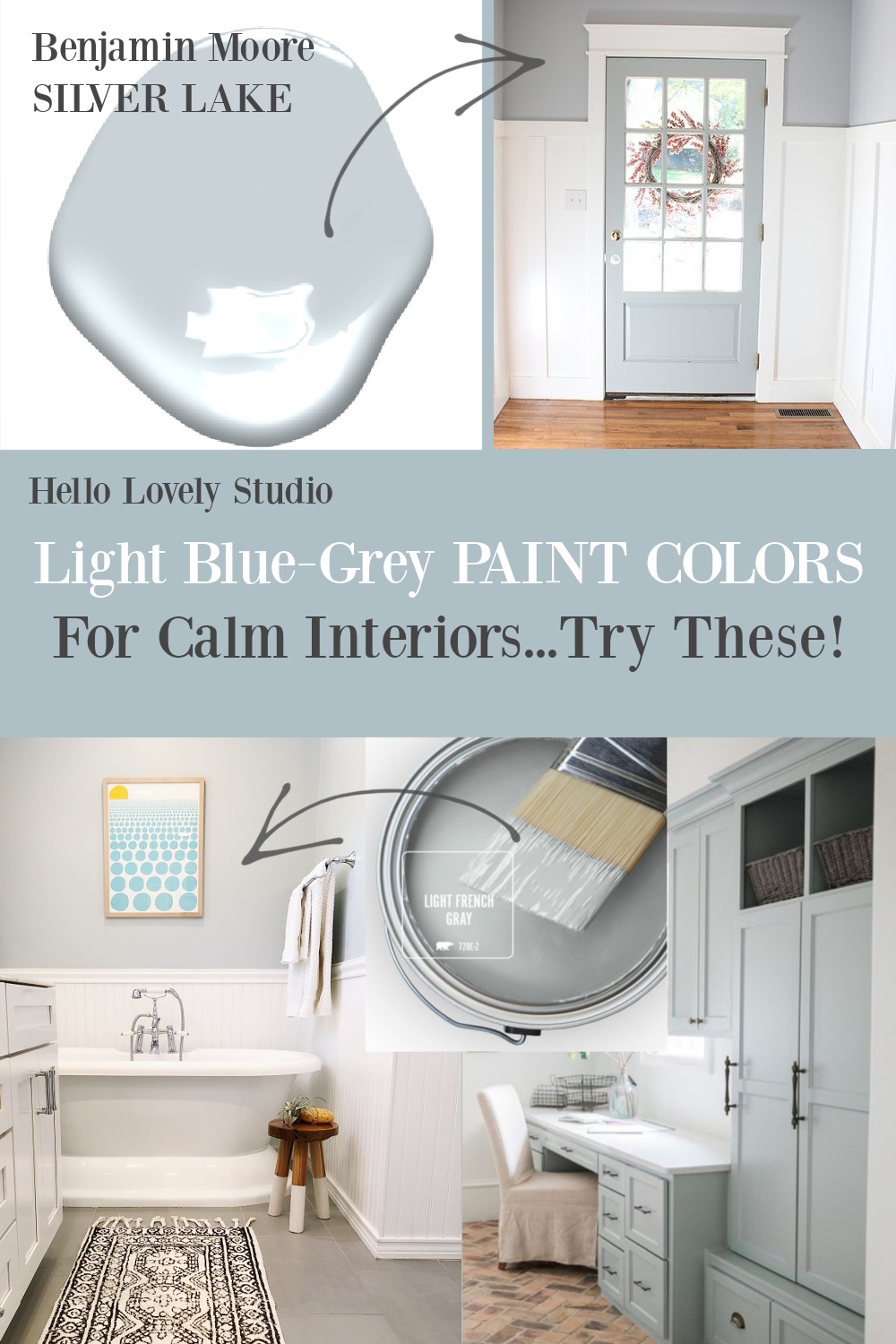 Light grey paint colors for calm interiors - try these on Hello Lovely! #paintcolors #bluegray #greyblue #greypaintcolors