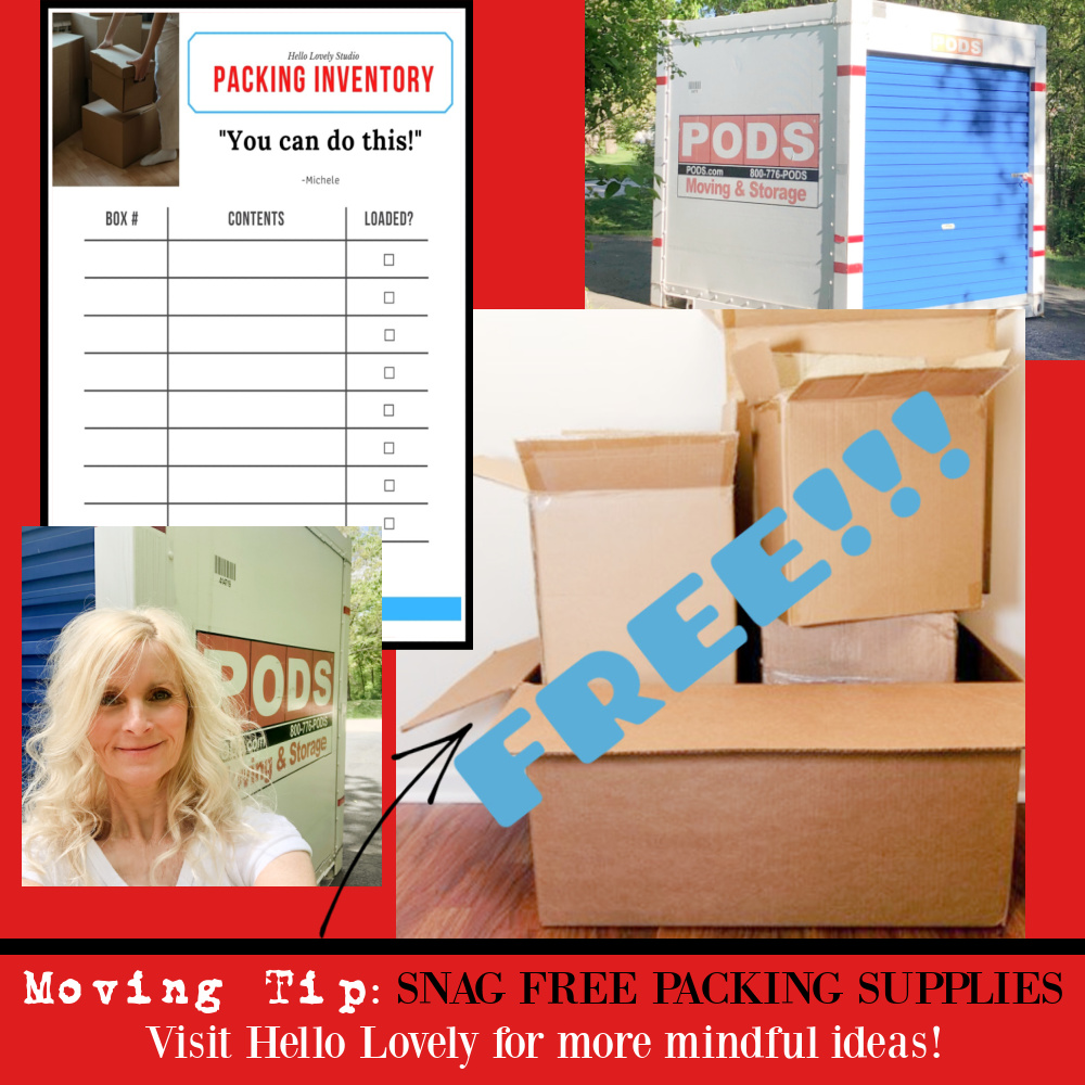 Moving tip for scoring free packing supplies - visit Hello Lovely for more mindful ideas. #movingtips #packing #movinghacks