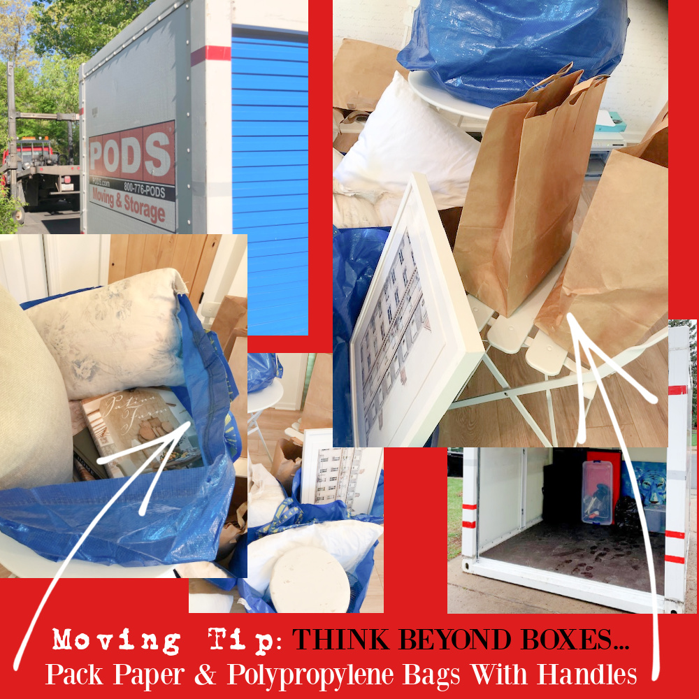 Moving tip: think beyond boxes and pack with paper grocery bags and polypropylene bags with handles - Hello Lovely Studio. #movingtips #movinghacks #packing #relocation
