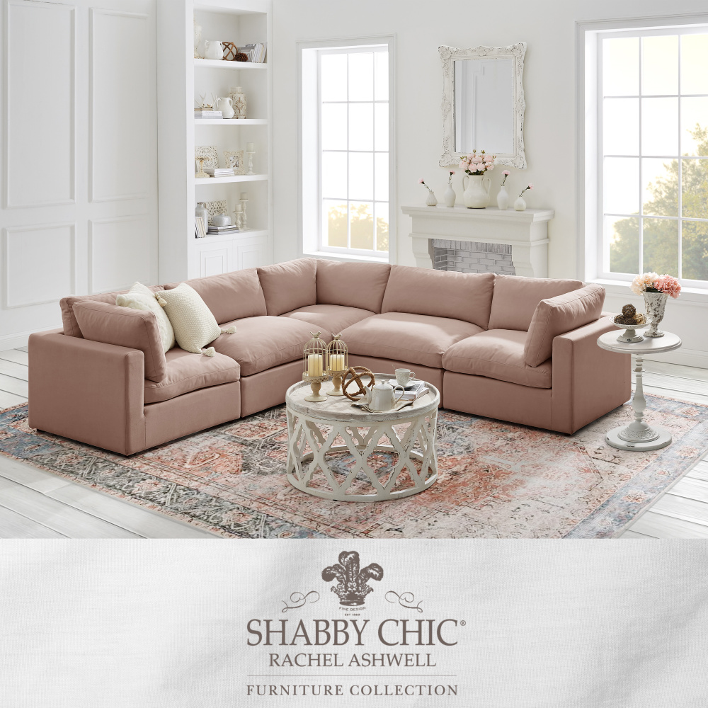 Shabby Chic Rachel Ashwell sectional sofa in blush pink. #sectionals #sofas #shabbychic #rachelashwell