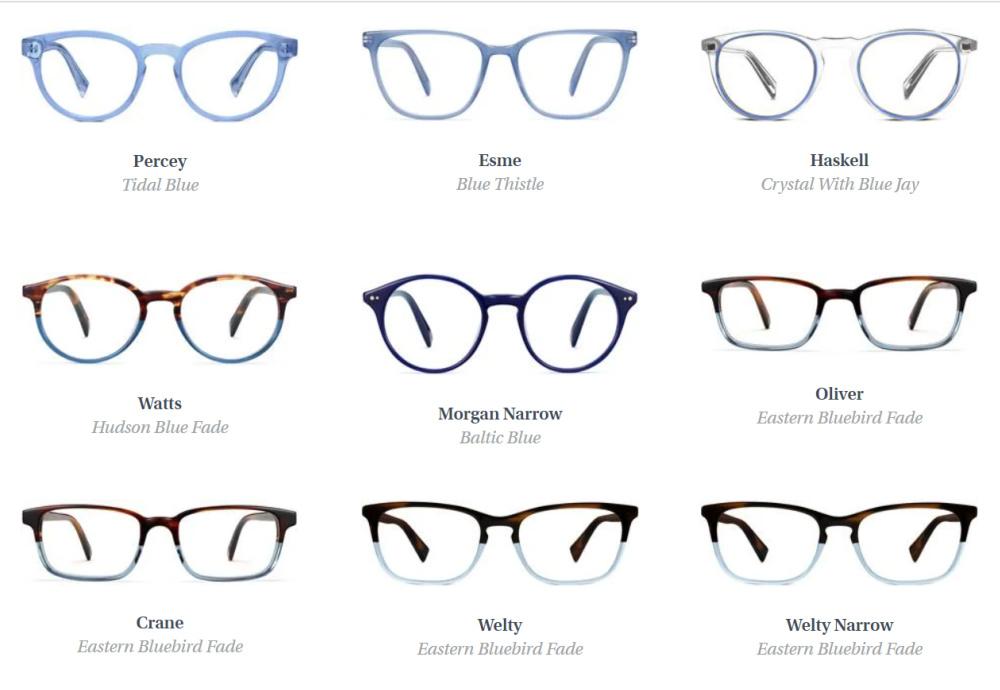 Eyeglasses at Warber Parker - blue options for women. #warbyparker #eyeglasses #blueglasses