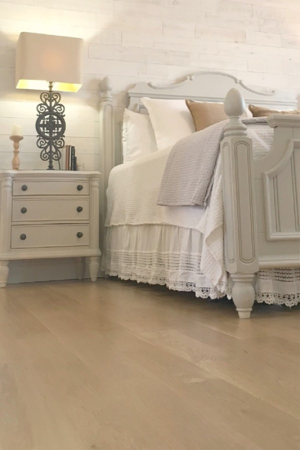 Hello Lovely Studio's French country bedroom with white oak hardwood floors and neutral palette. #hellolovelystudio #flooring #whiteoak #hardwoodfloors #frenchcountry #interiordesign #bedroomdesign