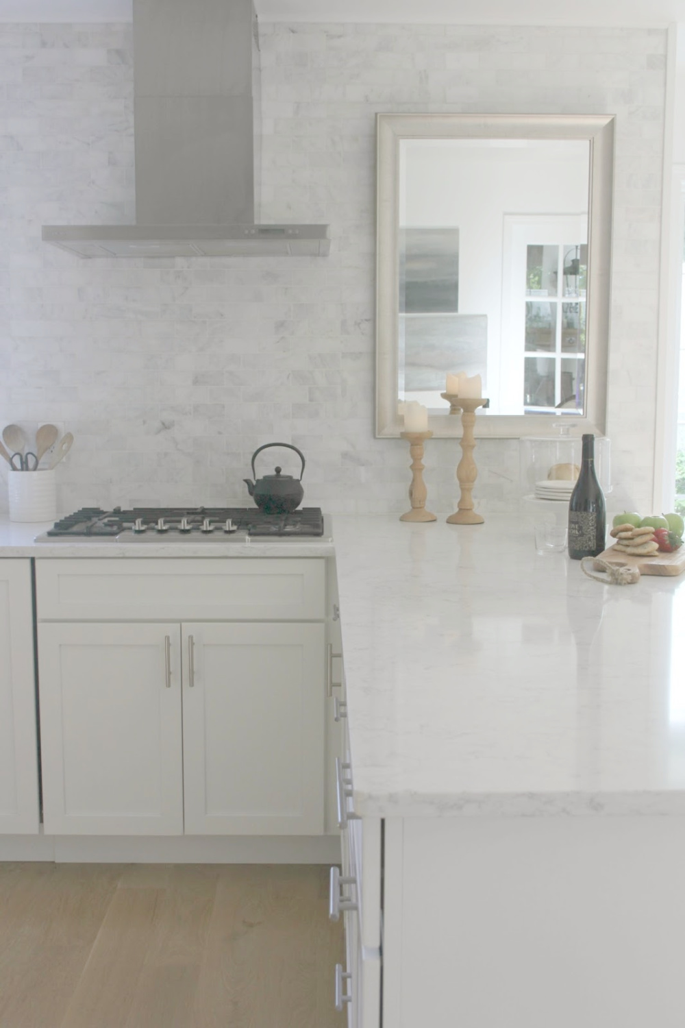 Viatera quartz counterop - Minuet. European farmhouse style and French Nordic cottage decor in our fixer upper - Hello Lovely Studio. Come see the renovation photos in Before & After: European Country Style Fixer Upper.