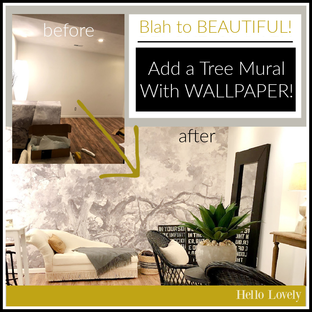 Blah to Beautiful: add a tree mural with wallpaper: I'll show you how - Hello Lovely. #wallpapermural #treemural #accentwalls #interiordesign