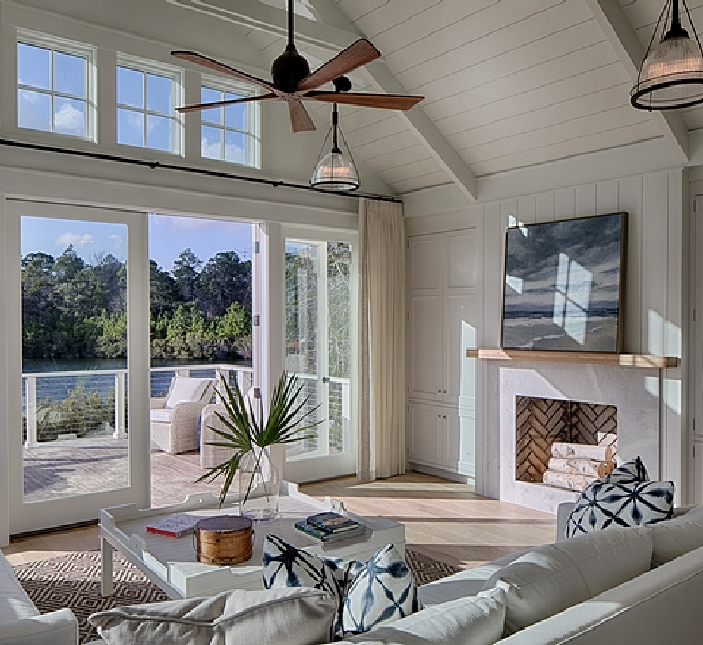 Great room in a board and batten coastal cottage in Palmetto Bluff with modern farmhouse interior design by Lisa Furey.
